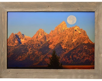 Grand Teton National Park Barnwood Framed Fine Art Print With First Morning Light on Mountains With Setting Moon, Wall Art, Jackson Hole