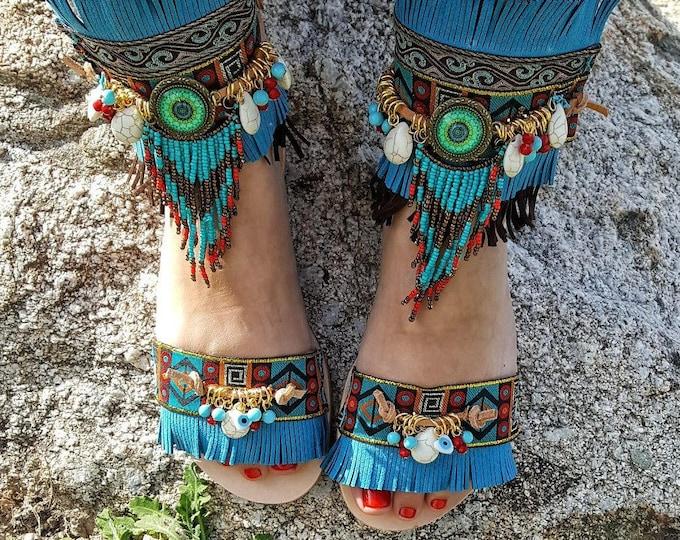 "Greek handmade sandals """"Morgana """"boho sandals,hippie women's sandals ,fringes sandals,ethnic,native,leather  sandals,evil eyes"