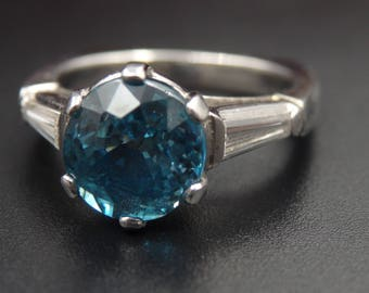 Sale! Heavy platinum diamond blue zircon ring, size 6