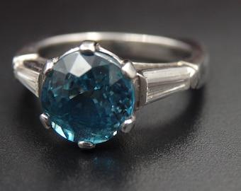 Sale! Heavy platinum diamond blue zircon ring, size 6