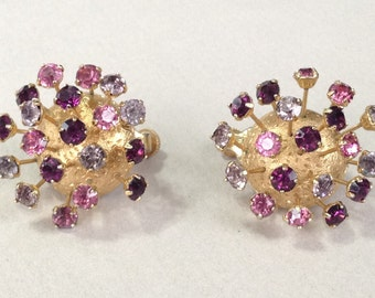 Corocraft Dark Amethyst Light Amethyst and Pink Rhinestone Trembler Clip Earrings