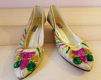 Vintage 80s Sparkling Sequined Kitten Heels - Size US 5.5/UK 3.5/EU 36