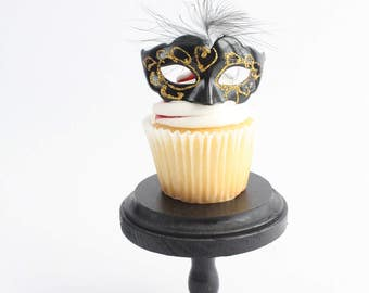 Miniature, Mini Masquerade Masks (Black with Gold) Cake Topper, Cupcake Topper, Paris Decoration, Centerpiece Decor, overthetopcaketopper