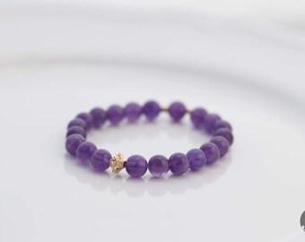 Purple Amethyst Beaded Bracelet, Stretch Bracelet, Birthstone Bracelet, February Birthstone - for Her, byJTSjewelry