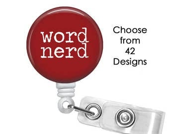 Word Nerd Badge Reel, ID Badge Holder clip, Scrabble Badge Reel, Word Finder Badge Reel, Puzzle Badge Reel