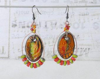 Bohemian Earrings, Colorful Gypsy Earrings, Hippie Chic, Boho Earrings, Dangle Earrings, Hoop Earrings, Handmade Jewelry, Beaded Earrings
