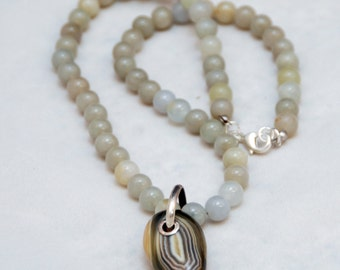 Sterling Silver Banded Agate Pendant on Gray Agate Bead Necklace