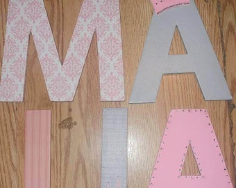 Pink and Grey Princess Themed Letters