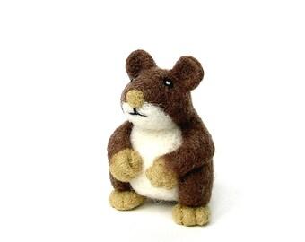 Hamster made of needle felted wool, decorative figurine
