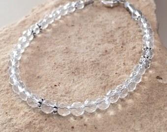 Crystal bracelet, quartz bracelet, gemstone bracelet, sterling silver bracelet, Hill Tribe silver bracelet, gift for her, gift for wife
