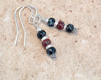 Black and red drop earrings, Miyuki seed bead earrings, silver dangle earrings, boho earrnings, Hill Tribe silver earrings, gift for her
