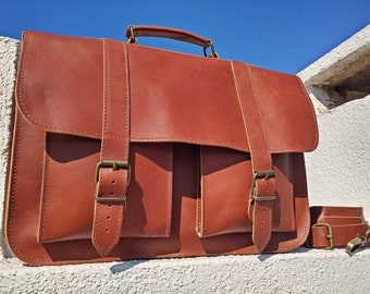 MESSENGER BAG - Full Grain Leather Briefcase - 15 inch Laptop Bag. Handmade in Greece.
