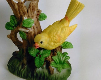 Ceramic Yellow Bird on a Hollow Tree Stump By Lego Made In Taiwan