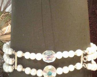 Vintage Swarovski Crystal with Fresh Water Pearls in 14Kt GF