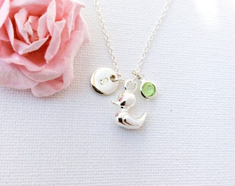 silver duckling Initial and birthstone necklace, duck necklace, birthstone necklace, initial necklace, duck necklace, duckling necklace