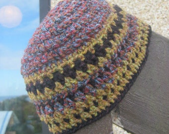 Harris Wool (Bobban Wool) Beanie - ladies, teen, small adult - short version - Damson/Ochre multi