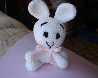 Bunny Rabbit Crocheted in 8 ply Acrylic Yarn with pink Satin Ribbon