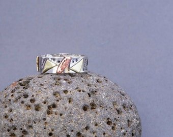 Silver Ring, Silver Band, Copper Ring, Brass Ring, Stamped Ring, Ring Band, Hammered Silver Ring, Stamped Silver Ring,