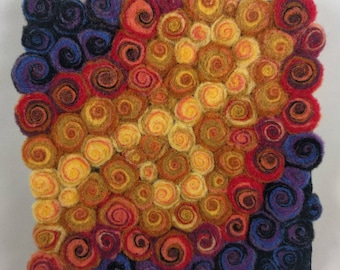 Felted Square Trivet, Swirl Style Abstract in Yellows, Reds, and Purples