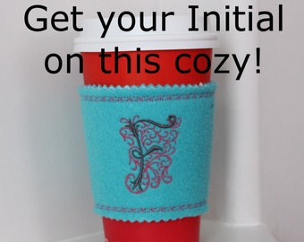 SALE! Monogram Cup Cozy,initial personalize Coffee Sleeve,starbucks cup holder,Reusable Fabric Cozy,custom Coffee cozy, gift, Gift Idea,