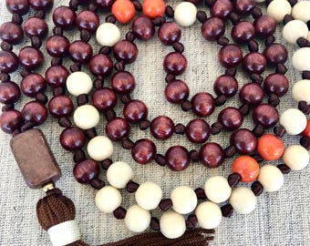 Brown white mala necklace brown white orange wood mala necklace wooden mala yoga mala meditation necklace tassel long necklace