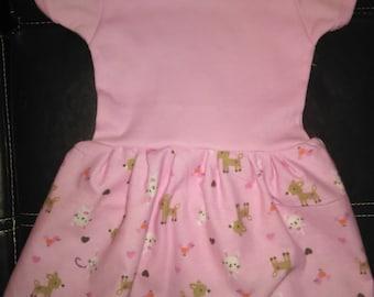 Adorable Deer & Bunny Onesie Dress