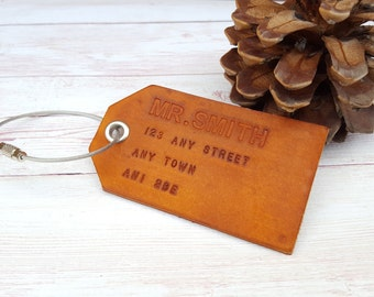 Monogram Leather Luggage Tag - Custom Leather Travel Tag - Engraved Luggage Tag - Groomsmen Gift - Gift for Men - Third Anniversary Gift