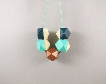 Geometric Necklace - Teal, Copper & Mint | Statement Necklace | Gift for her | Geometric Jewellery | Beaded necklace | Minimalist