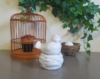 Vintage Salt & Pepper Bird and Nest Shakers | White Ceramic Songbird and Egg Nest Seasoning Dispensers