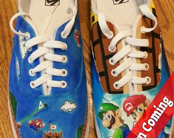 Custom 8-Bit Mario Painted Shoes