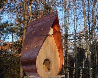 Copper and Cedar Bird Feeder - Teardrop