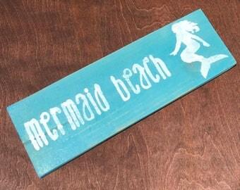 mermaid beach mermaid decor mermaid sign mermaid beach sign beach house decor rustic beach decor rustic cottage decor framed mermaid sign