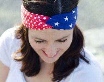America Headband - Red White and Blue Headband - Patriotic Gift - 4th of July Headband - Stretchy Headband - Patriotic Turban Headband