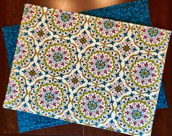 Summer Placemats - Set of 4 Placemats - Reversible Placemats - Green and Blue Placemats - French Provincial Placemats - Teal Placemats