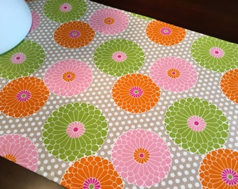 "Summer Table Runner - 40"" Table Runner - Pink and Green Table Runner - Pink Table Runner - Reversible Table Runner - Floral Table Runner"