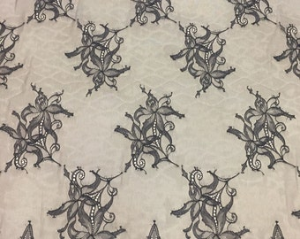 Black chantilly Lace fabric, Wedding lace, black chantilly lace fabric, flower pattern     M000099