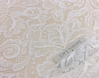 Ivory lace fabric, French Lace, chantilly lace, Wedding Lace, white Lace, soft Chantilly Lace  B00164