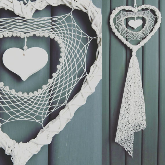 Wedding Dream Catcher White Cream Heart Wedding Decor Lace Dreamcatcher Shabby Chic Modern rustic decor wall hanging wall decor