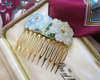 1980's Vintage Cloisonné Hair Comb / Hair Slide – Pastel Coloured Oriental Floral Design – Vintage Enamel Hair Comb / Hair Jewellery