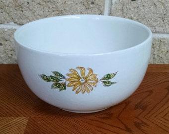Sunflower Design Ceramic Bowl- 2 Quart Serving or Mixing Bowl - Heavy Glazed Stoneware - Vintage Kitchen Ware