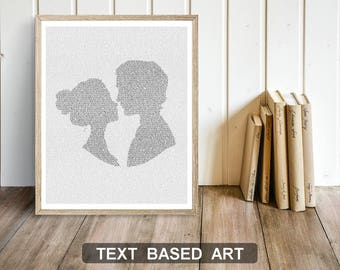 Pride and Prejudice Art Print, Jane Austen Wall Art, Bookish Gift, Pemberley, Elizabeth and Mr. Darcy, Literary Gift, Text Art (US)
