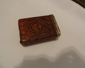 Hand Tooled Leather Cigarette Case with Flip Lid, Embossed Leather Cigarette Holder, Stash Box