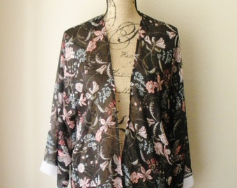 Sale! Sheer Floral Print Cardigan (Small-Medium)