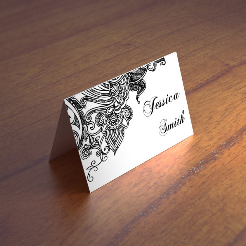 Lace wedding place cards template Black and white escort cards ...
