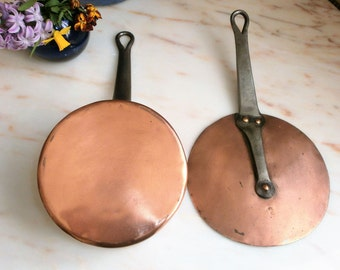 Vintage copper Pan tinned yesteryear French kitchen / / Vintage copper pan tinned