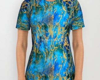 Blue and Gold Swirls T-Shirt, Multiple Sizes Available!