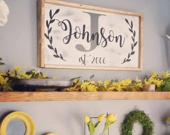 Last Name Laurel Wreath Framed Sign