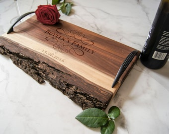 Personalized serving Tray, Custom serving tray, wedding gifts,  Live Edge serving tray, Housewarming gifts, Laser engraved