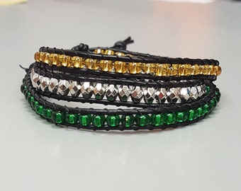 Green & Gold leather wrap beaded bracelet