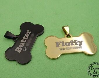Custom Personalised Engraved Pet Lost ID Bone Tag Stainless Steel